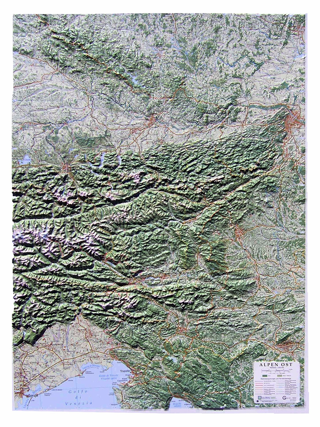 Raised relie map alps and alps east 1500000 as 3d map raised relief maps the alps 1500000 central and east sciox Gallery