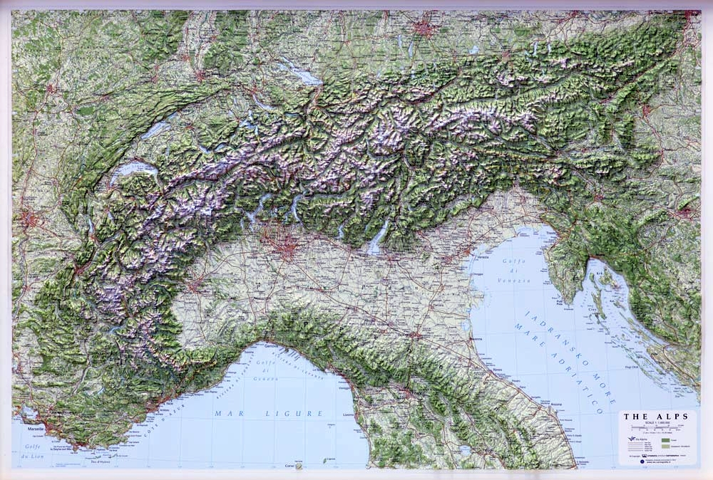 XL Wall Map Alps 1: 500.000 as 3d map