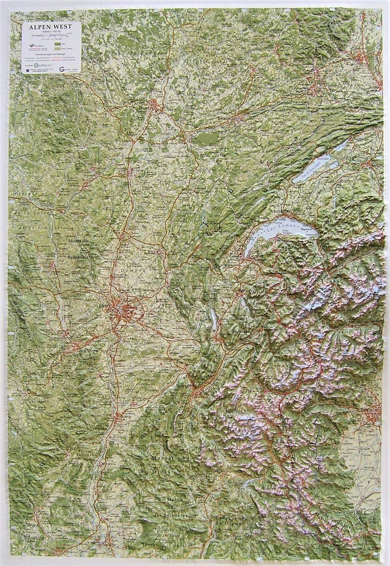 Raised relief map Alps West as 3d map