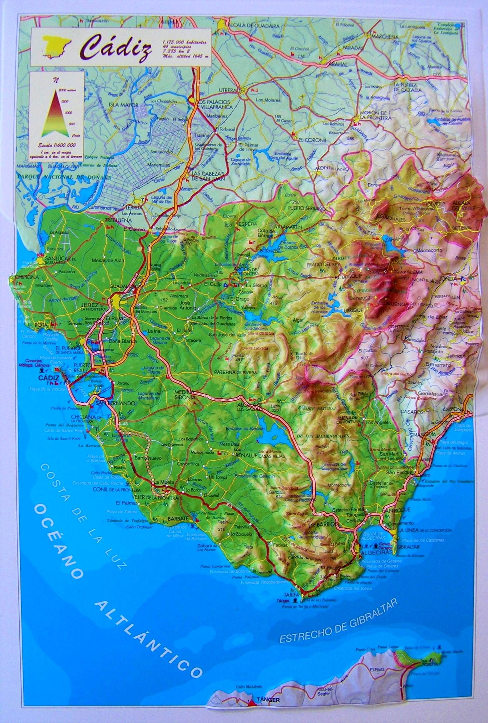 Map Of South Spain.Raised Relief Map Of Cadiz South Spain As 3d Map