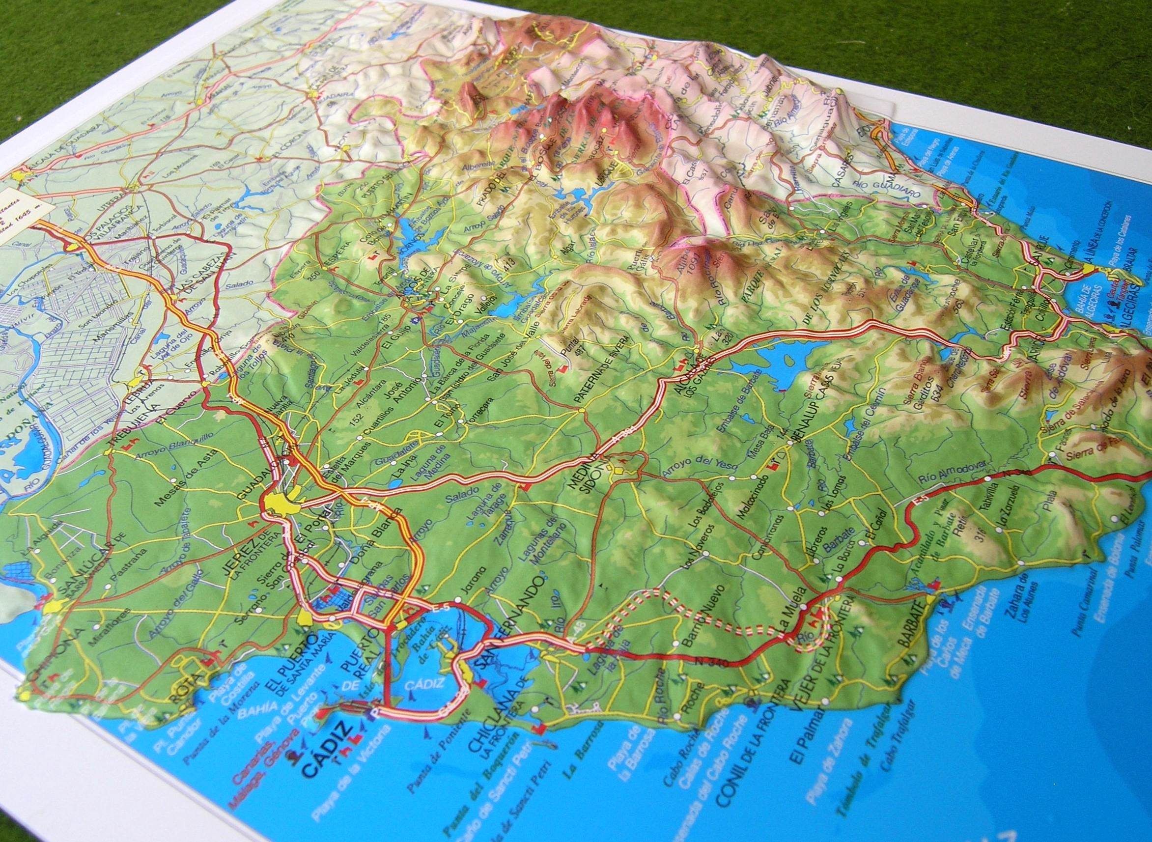 Map South Of Spain.Raised Relief Map Of Cadiz South Spain As 3d Map
