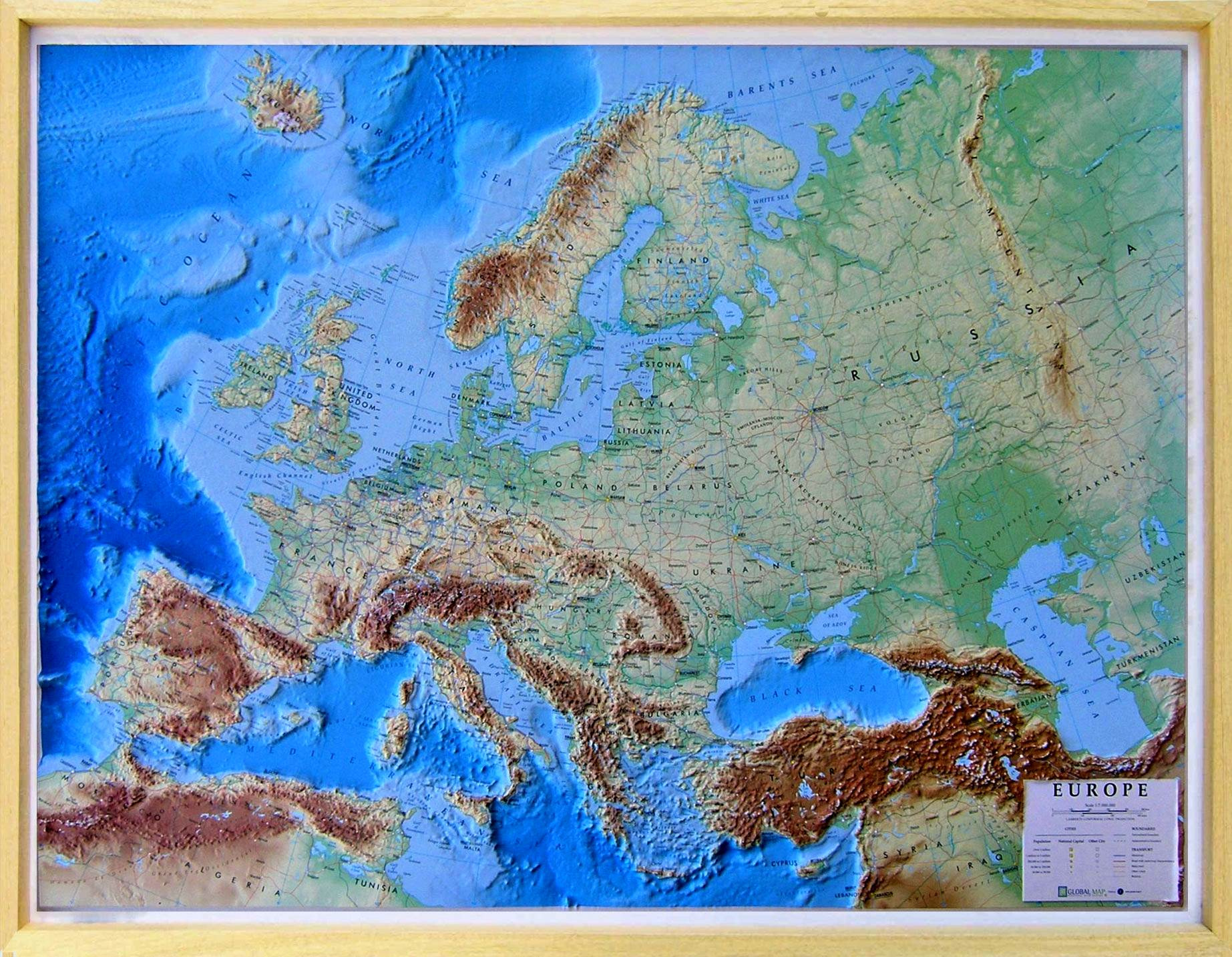 Relief Map Of The World.Raised Relief Map Europe As 3d Map