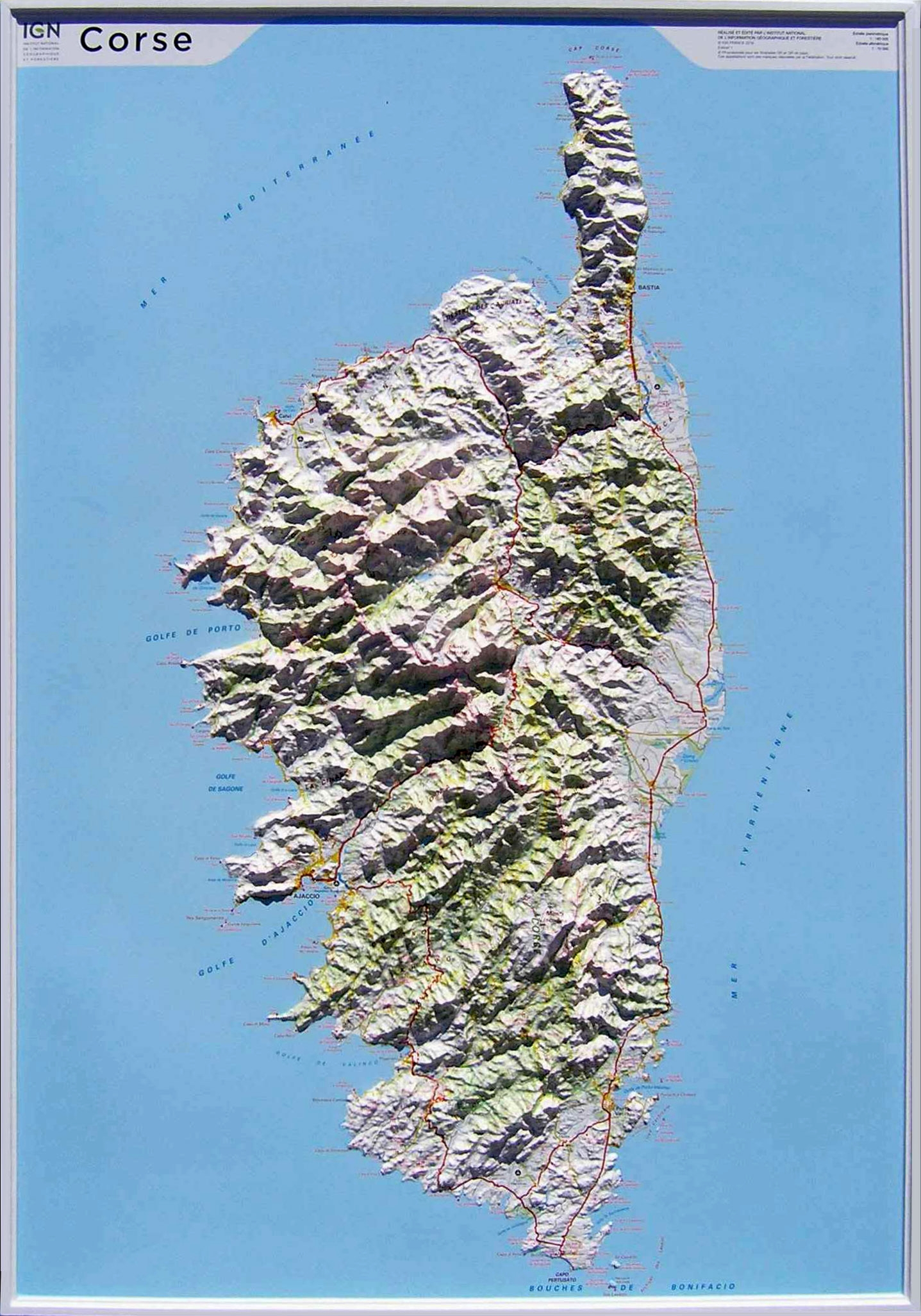 Raised relief map Corsica, big as 3d map