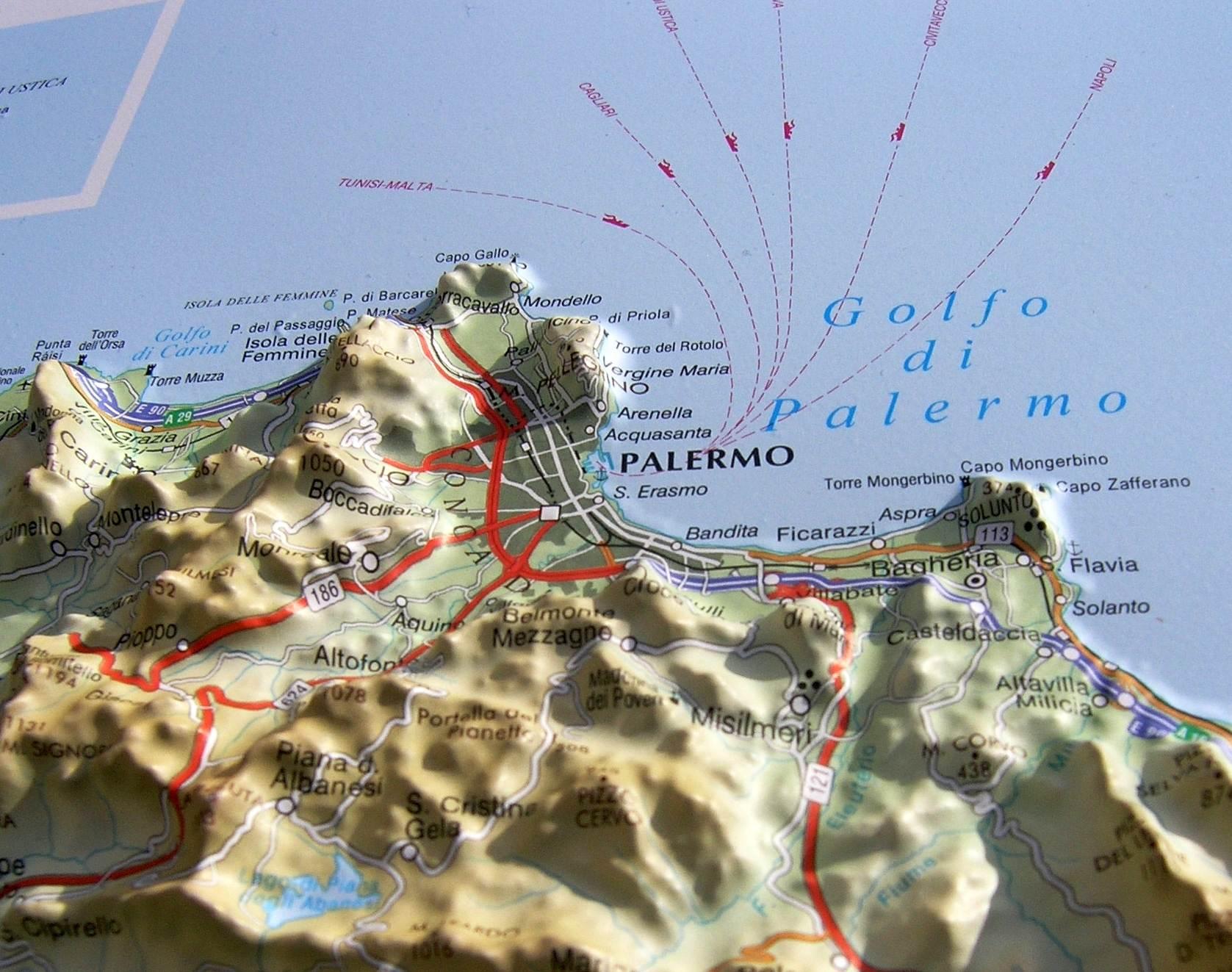 Sizilien Karte ätna.Reliefkarte Sizilien 3d Relief Wandkarten