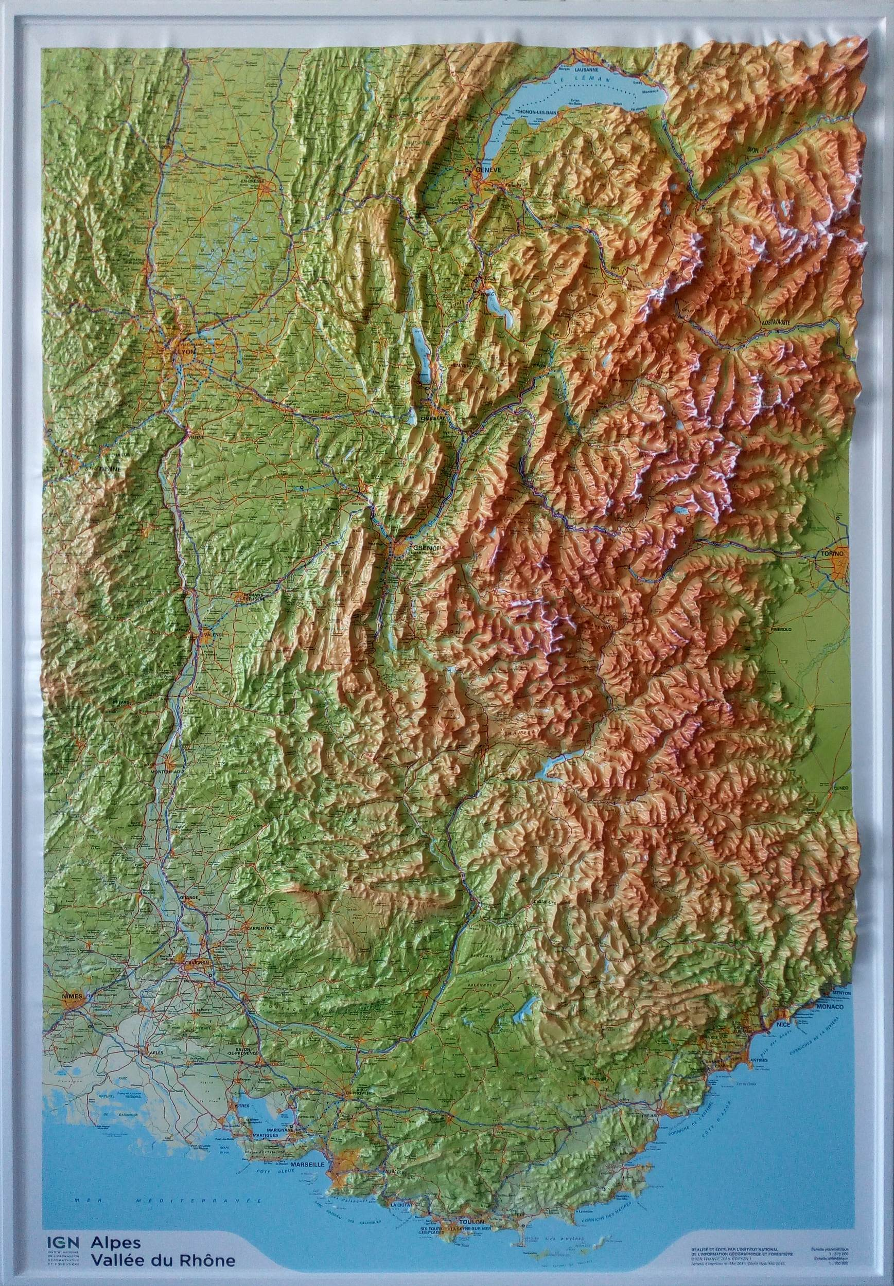 Raised Relief Map French Alps and Rhone Valley as 3d map