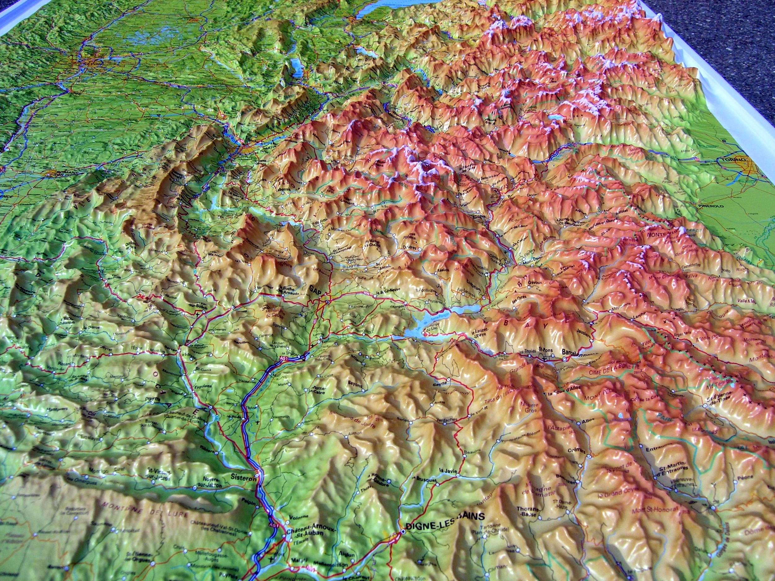 Map Of The Alps In France.Raised Relief Map French Alps And Rhone Valley As 3d Map