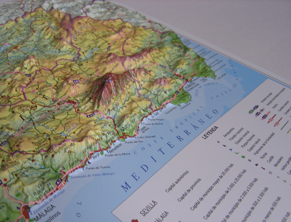 Raised Relief Map Andalusia As 3d Map