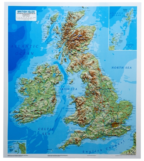 BRITISH ISLES RAISED RELIEF MAP as 3d map