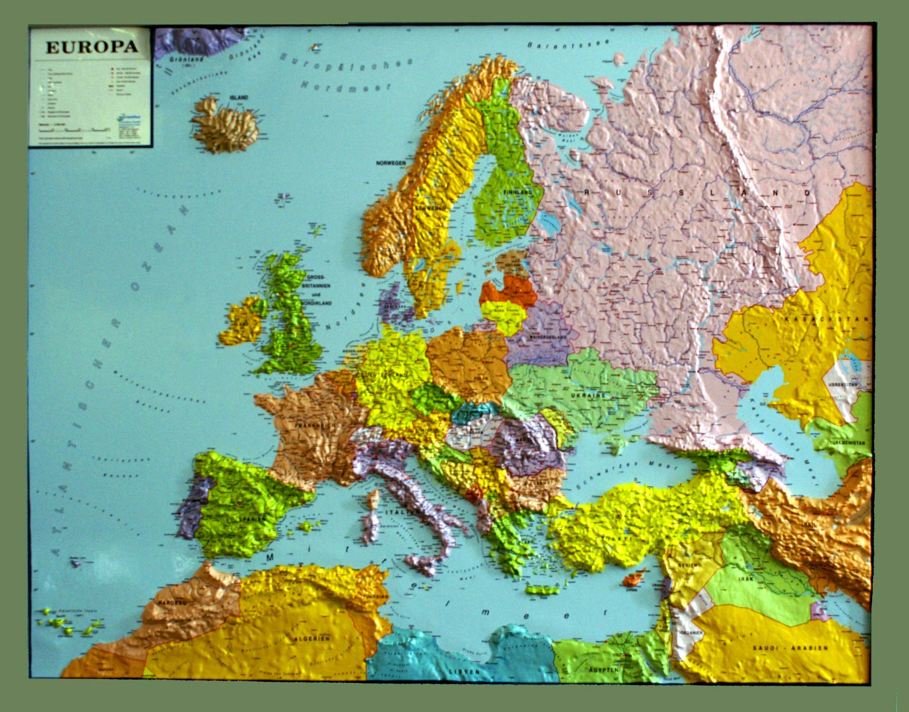 Map Of Europe With Scale.Relief Map Of Europe Silver Line Politically As 3d Map