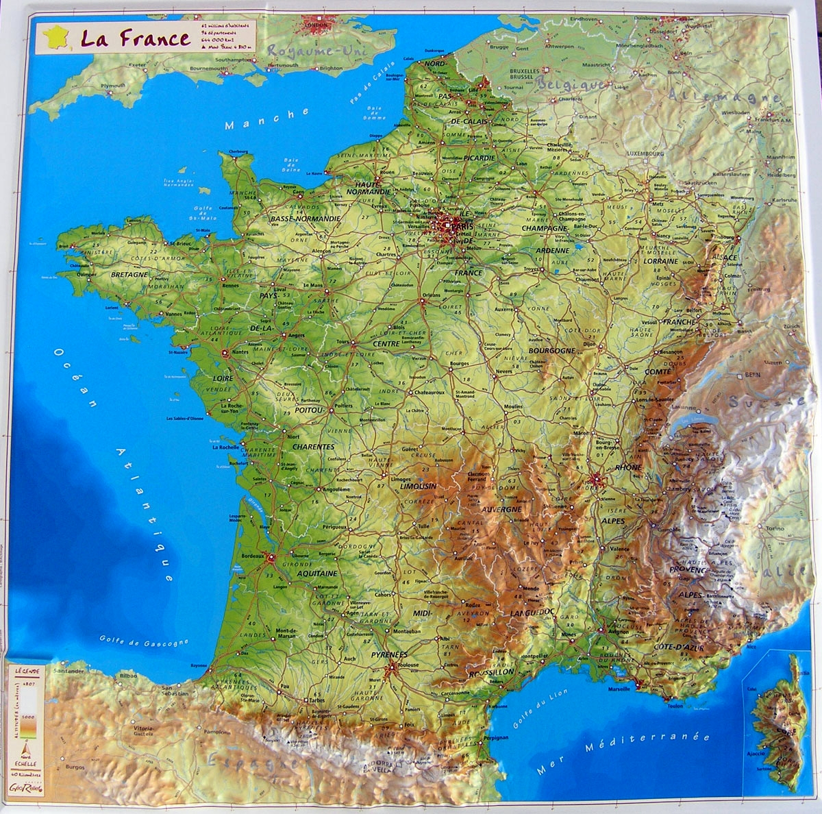 Raised relief map France as 3d map