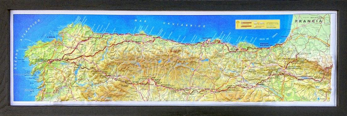 Jakobsweg Spanien Karte.Reliefkarte Jakobsweg Groß 3d Pilgerkarte 3d Relief Wandkarten