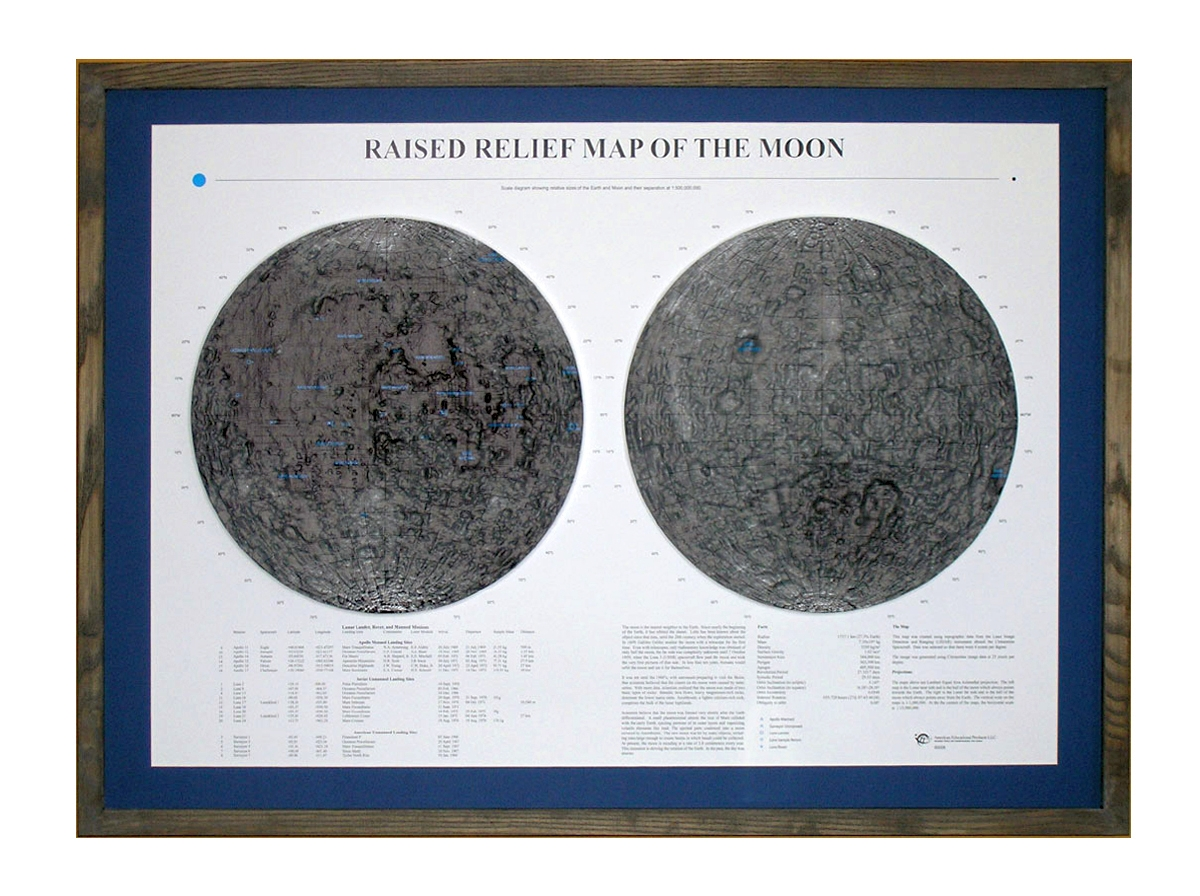 Raised relief map Moon as 3d map