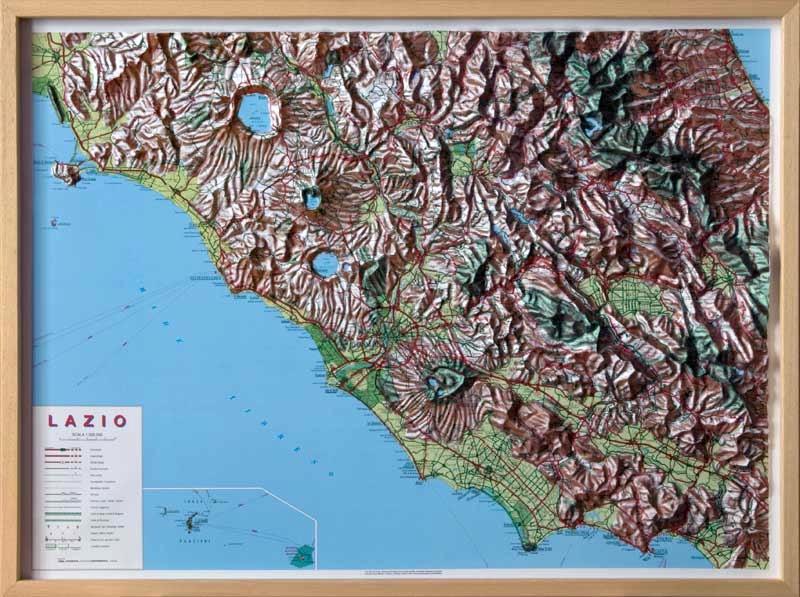 Raised Relief Map Region Rome Lazio As D Map - Raised relief map