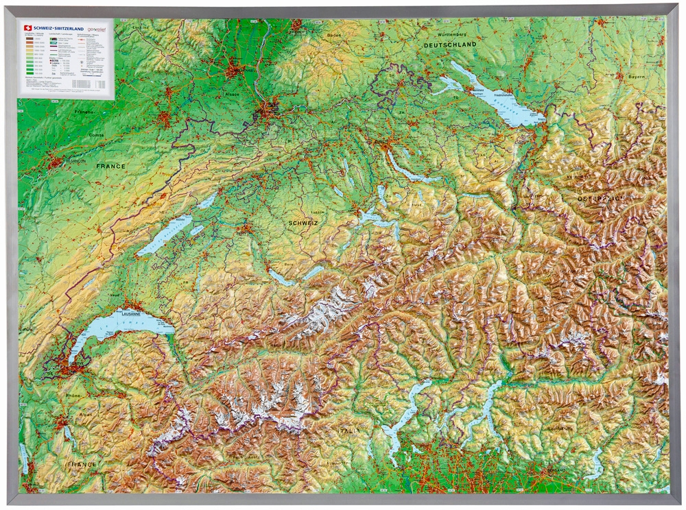 Switzerland Elevation Map.Raised Relief Map Of Switzerland 1 500 000 As 3d Map