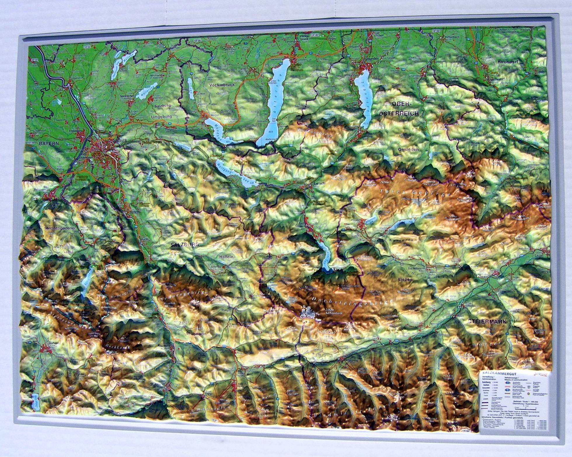 Raised Relief Map Salzkammergut As D Map - Raised relief map