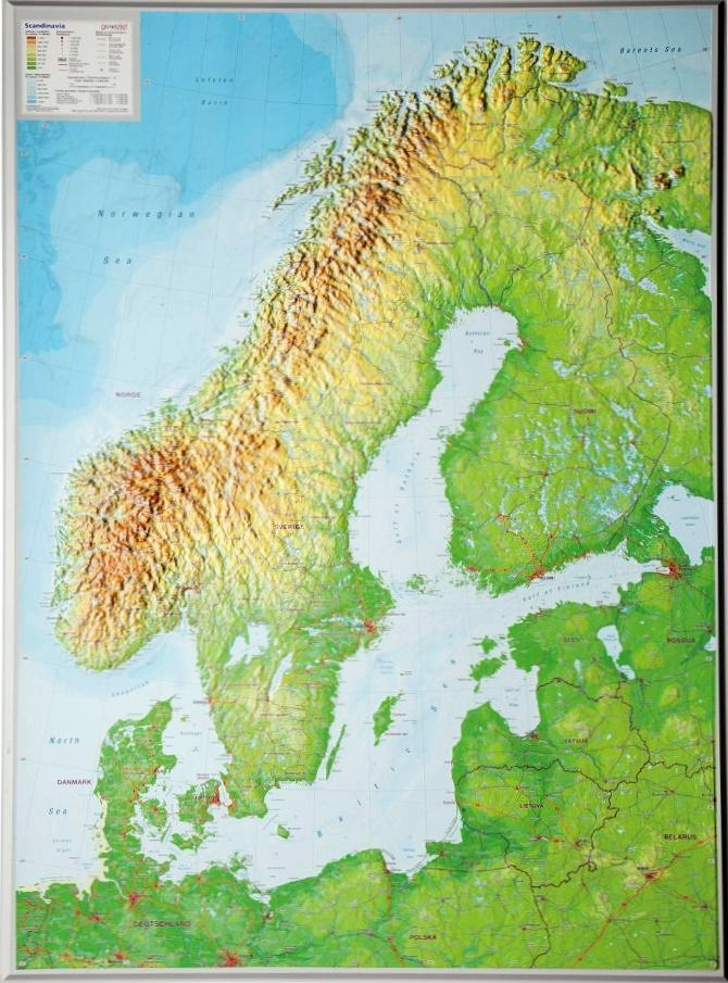 Big raised relief map of Scandinavia as 3d map