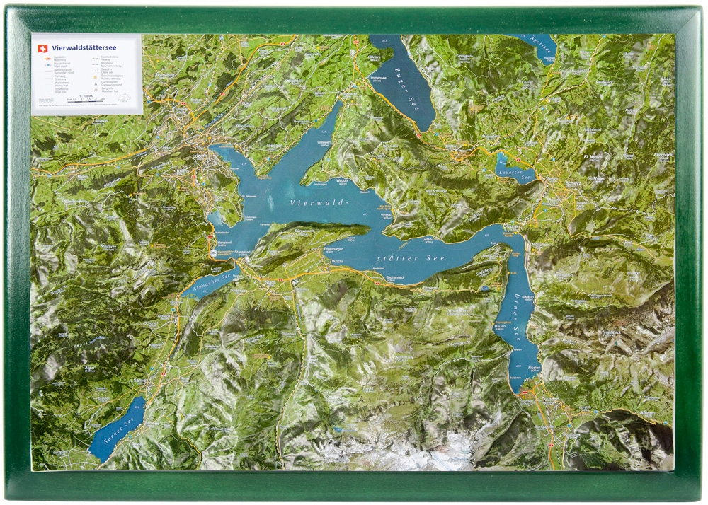 Raised relief map Lake Lucerne as 3d map