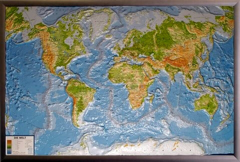 World Map Physically As 3d Map