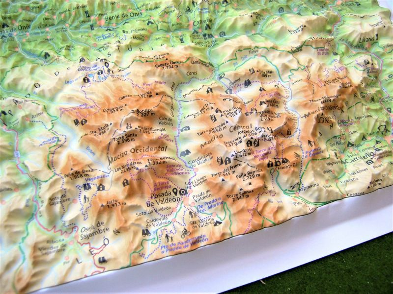 Raised relief map Picos de Europa