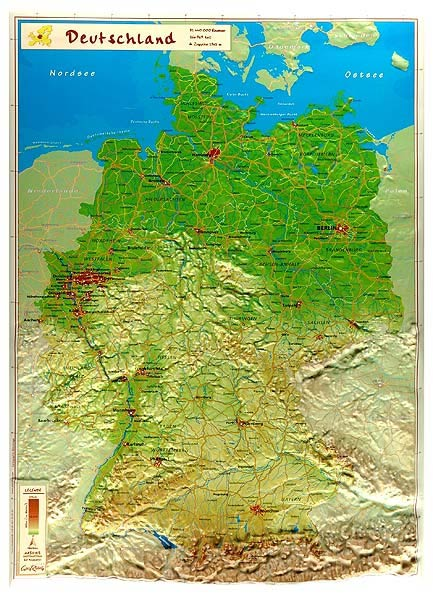 Map Of Germany 3d.Raised Relief Map Map Of Germany As 3d Map