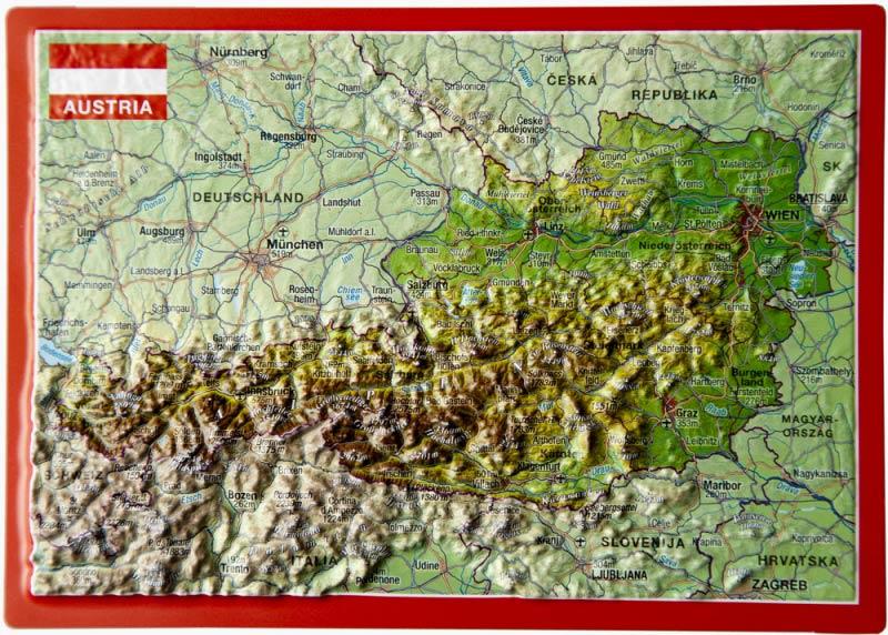 3d Karte Osterreich.Raised Relief Postcard Austria