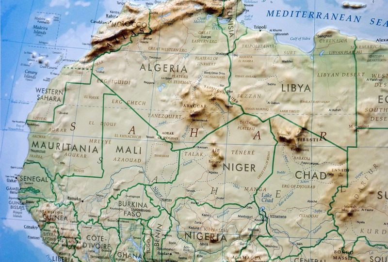 Raised relief map Africa as 3d map