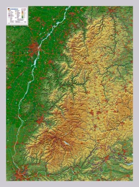 raised relief map black wood forest