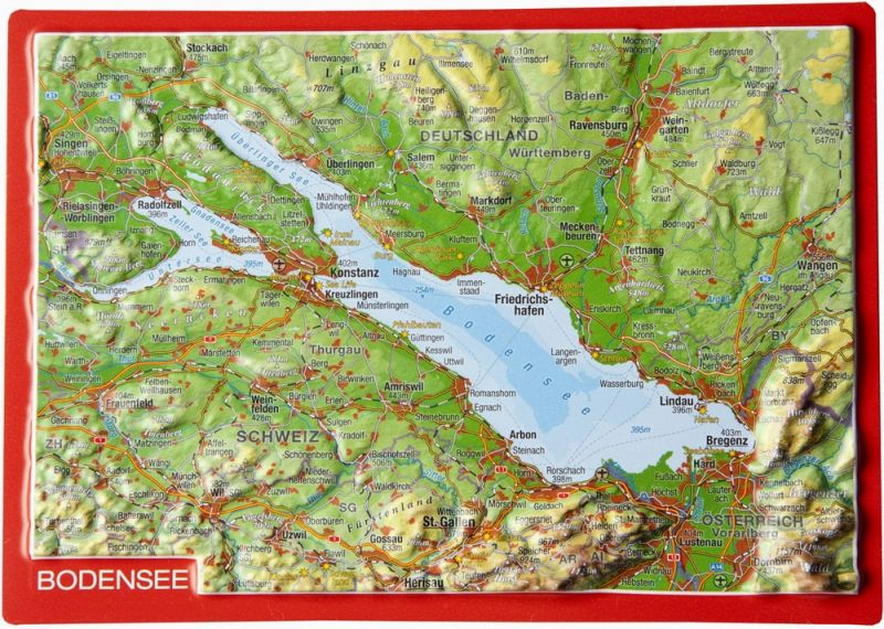 raised relief postcard Bodensee