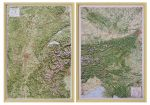 Raised relief maps The Alps 1:500.000, West and East
