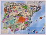 Raised relief map vineregions of Spain and Portugal