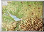Raised relief map Allgäu and lake of constance